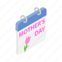 calendar, day, holiday, isometric, mom, mother, tulip icon