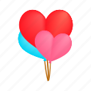 balloon, birthday, day, heart, isometric, mothers, red icon