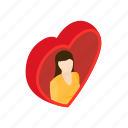 beautiful, day, female, heart, isometric, love, woman icon