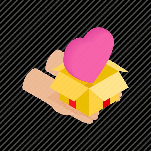 bow, box, celebrate, celebration, hand, heart, isometric icon