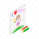 child, drawing, girl, happy, isometric, mom, mother icon