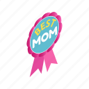 day, isometric, mom, mother, pink, ribbon, rosette icon