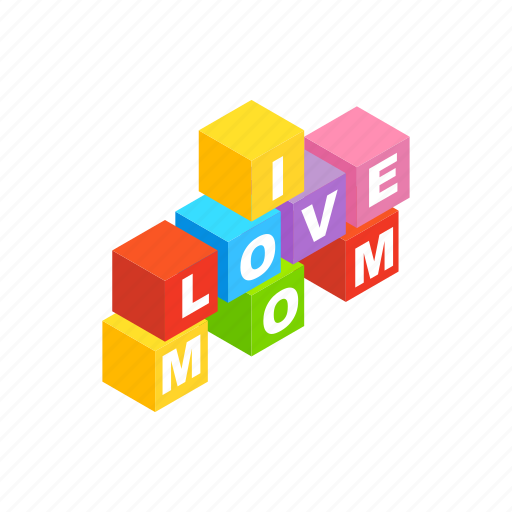 block, brick, isometric, letter, love, mom, mother icon
