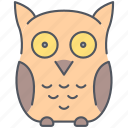 bird, education, forest, nature, night, owl, wisdom icon