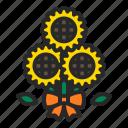 birthday, bouquets, flower, presents, spring, summer, sunflower