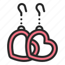 accessories, earring, heart, jewelry, mothers day, piercing, valentines day icon