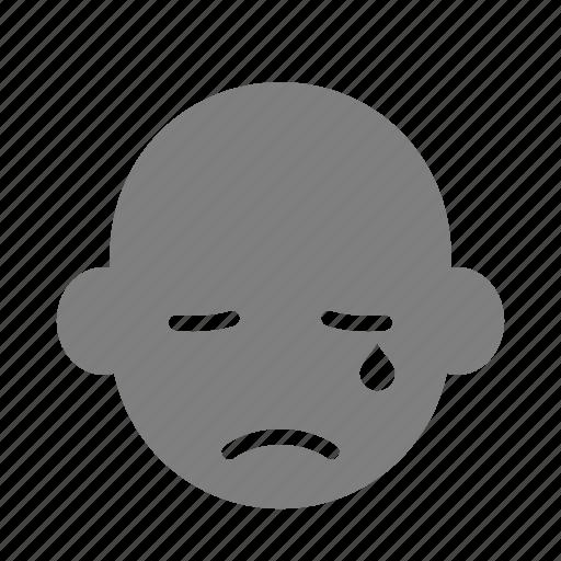 cry, emoticon, expression, face, reaction, sad, tear icon