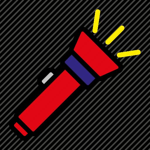 camping, flashlight, mountain, torch icon