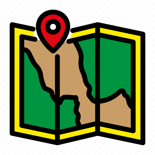 camping, location, map, mountain, tracking icon