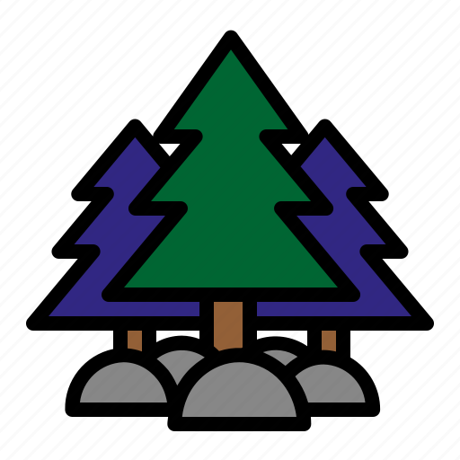 camping, forest, mountain, pine trees icon