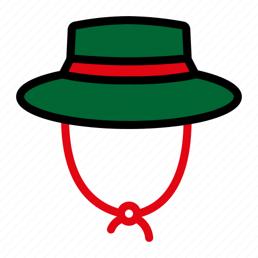 camping, mountain, nature, panama hat icon