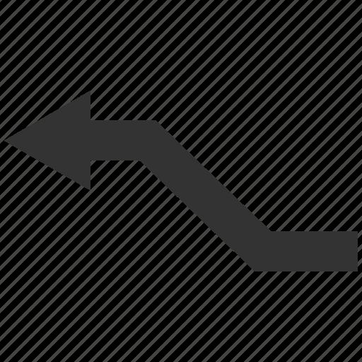 curve, left arrow, move, path, road, route, trend icon