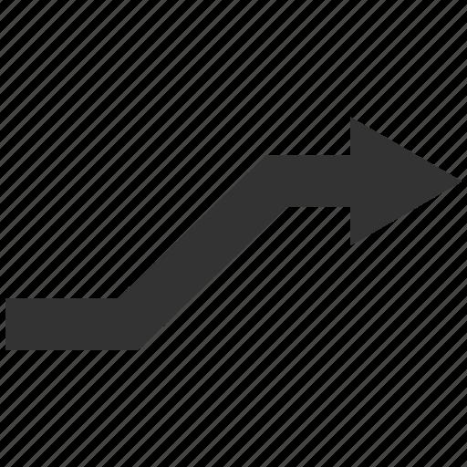 curve, move, path, right arrow, road, route, trend icon
