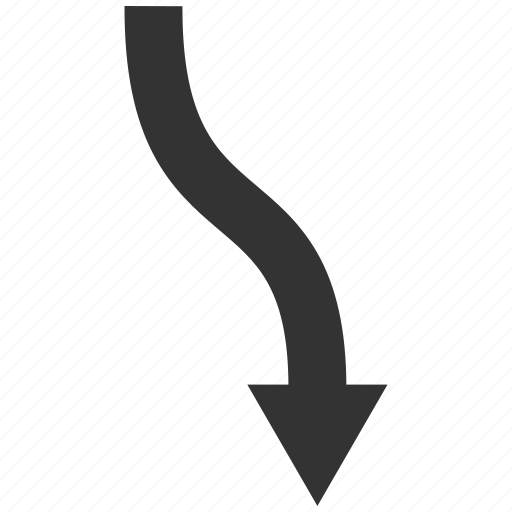 curve, down arrow, move, path, road, route, trend icon