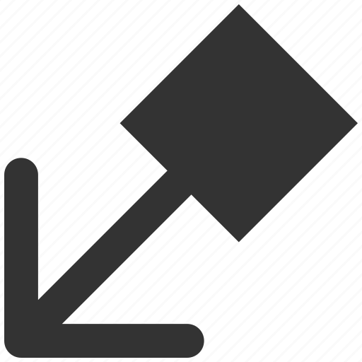 arrow, left down, left-down, move, pointer, pull, transfer icon