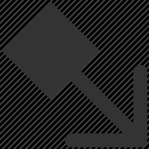 arrow, move, pointer, pull, right down, send, transfer icon
