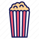 corn, film, food, movie, pop, pop corn icon
