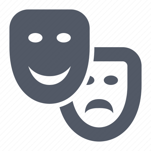 comedy, drama, entertainment, genre, happy, mask, sad, theater icon