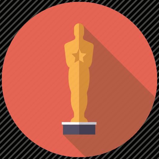 award, cinema, entertainment, gold, movie, statue, winner icon