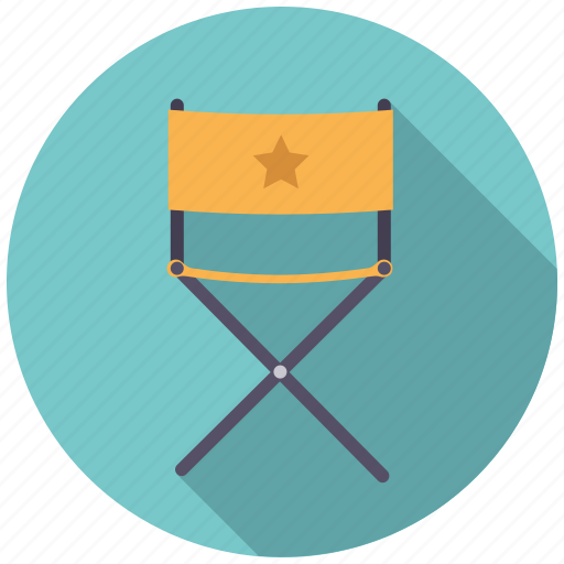 cast, chair, cinema, entertainment, folding, movie, star icon