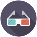 3d glasses, cinema, entertainment, glasses, goggles, movie icon