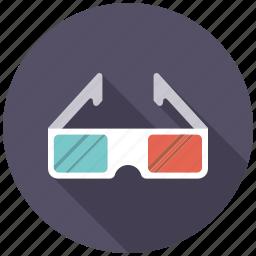 3d glasses, cinema, entertainment, glasses, goggles, movie icon