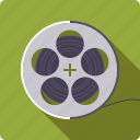 cinema, entertainment, film, movie, reel, spool icon