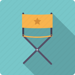 cast, chair, cinema, entertainment, folding, movie, star icon