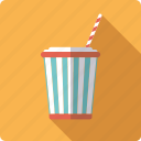 bucket, cinema, cola, drink, movie, soft drink, straw icon