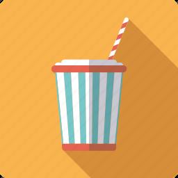 bucket, cinema, cola, drink, movie, soft drink, straw icon