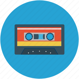 cassette tape, record, recording tape icon