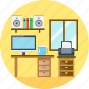 desk, furniture, interior, office, table, work icon