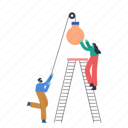 man, woman, person, lightbulb, light, lighting, ladder