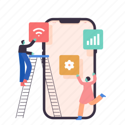 woman, man, person, smartphone, phone, layout, preferences, construction, application