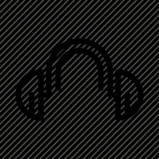 headphone, line, music, outline icon