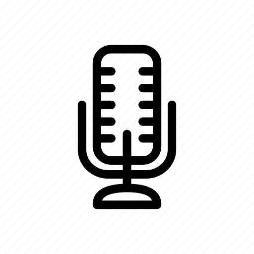 line, mic, microphone, outline icon