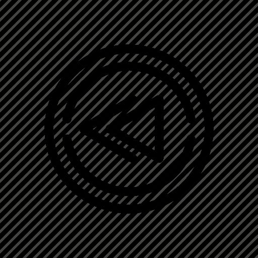 line, outline, rewind icon