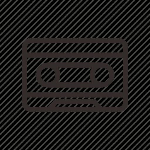 analog cassette, cassette, line, outline, tape icon