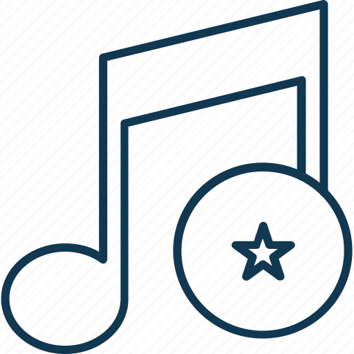 favorite music, music note, note, sound note, star with music, volume note icon