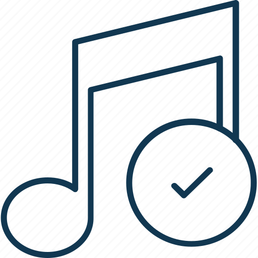 approved, music, music note, note, tick mark with music, volume note icon