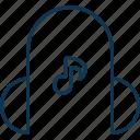 earbuds, earphones, earspeakers, gadget, headphone, music note with headphone icon