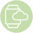 alarm, cloud, hand, storage, time, timer, watch icon