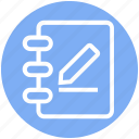 book, document, multimedia, paper, pen, pencil, write icon