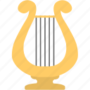 audio, harp, instrument, lyre, music icon