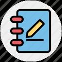 book, document, multimedia, paper, pen, pencil, write icon