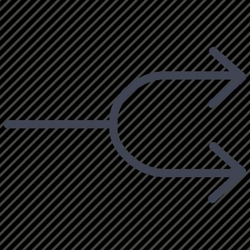 arrow, arrows, direction, multimedia, split icon