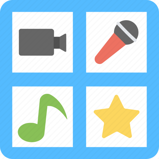 mic, multimedia, music note, star, video icon