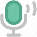 audio, loud, mic, microphone, microphone waves, recording mic, retro icon