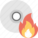burn disc, cd, dvd, fire, flame icon