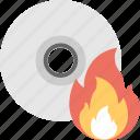 burn disc, cd, dvd, fire, flame